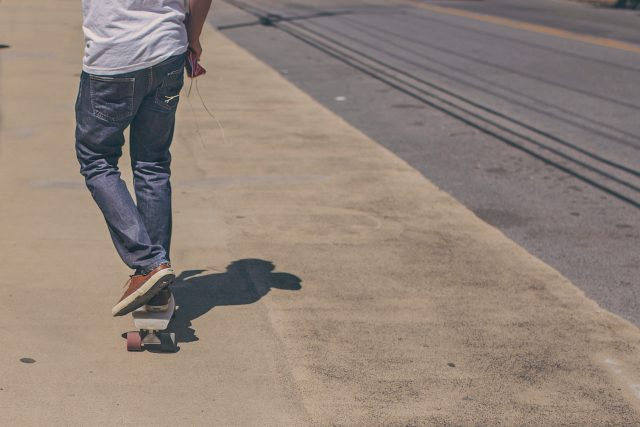 teenage boy skateboarding