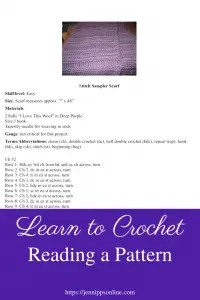 """Pinterest image of a pattern with a purple box in the bottom third with white text that says Learn to Crochet Reading a Pattern"""""""
