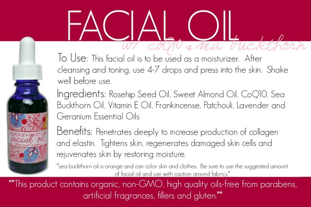coQ10 facial oil card
