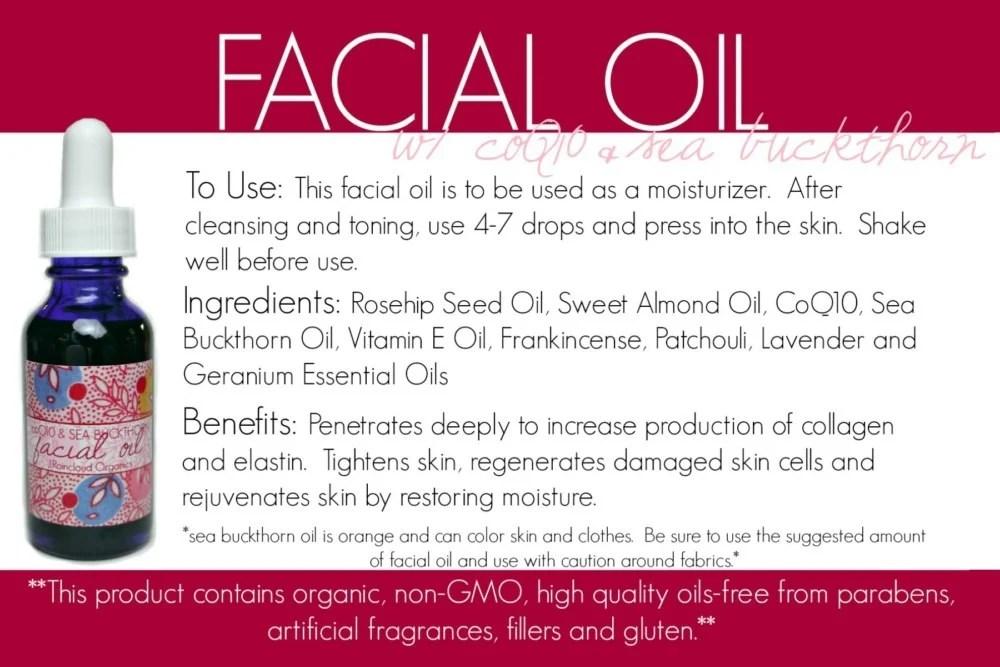 coQ10 facial oil card