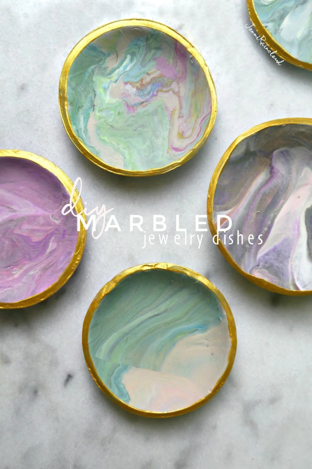 DIY Marbled Clay Jewelry Dishes