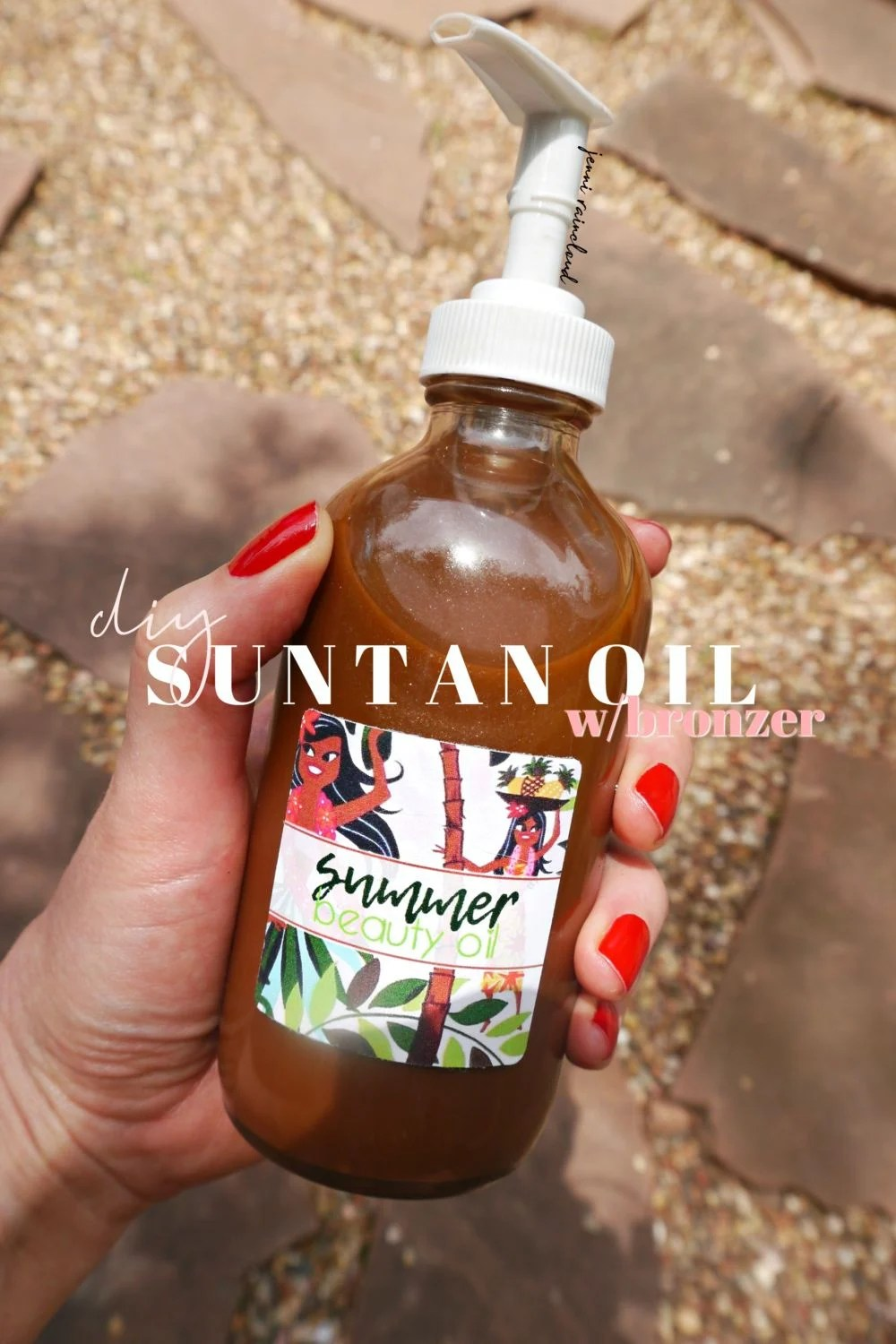 DIY Suntan Oil with bronzer