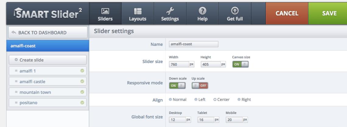 Your slider's settings: Overall slider dimensions, margins, mobile settings etc.