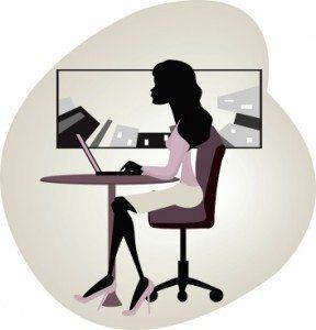vector image of businesswoman using laptop
