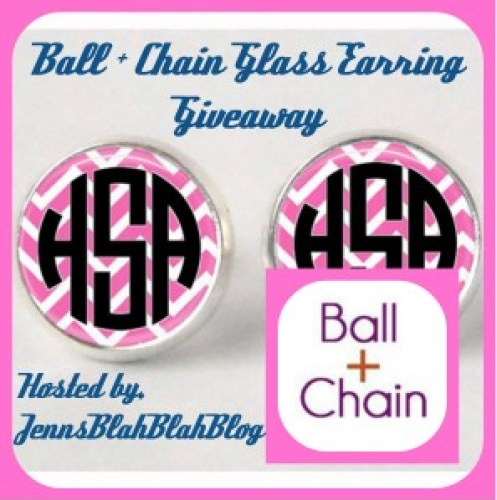 glass earring 297x300 Shop Ball and Chain Monogrammed Glass Earrings Giveaway