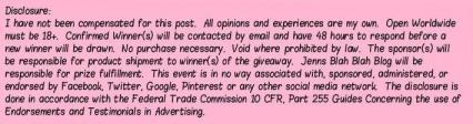 Jenns Blah Blah Blog Worldwide Giveaway Disclosure