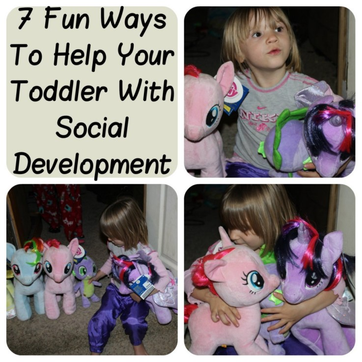 pictures of a toddler girl playing with stuffed My Little Pony animals, acting like she is introducing herslef to them.