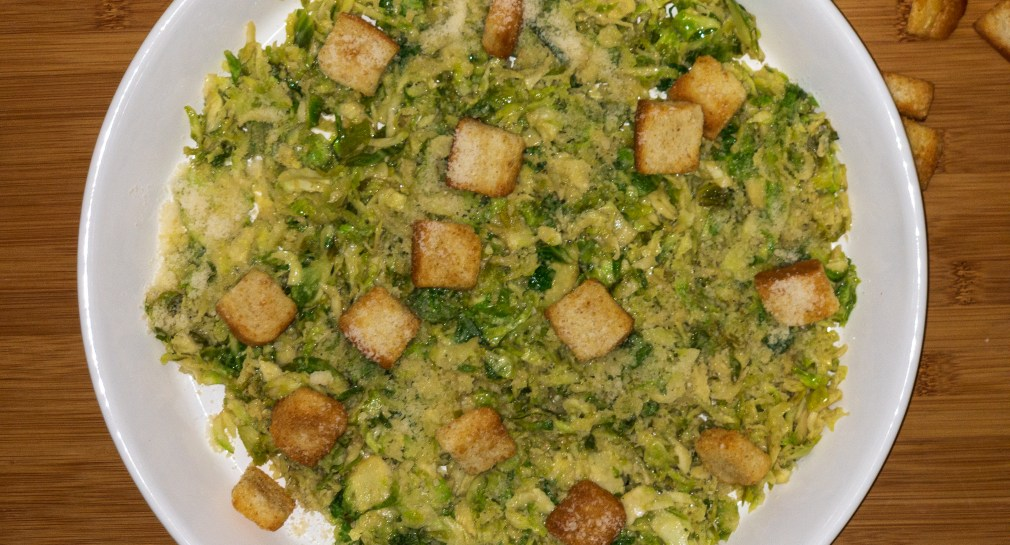 Warm Brussel sprout Caesar Salad