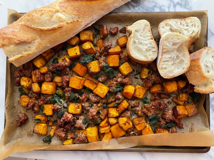 Sheet Pan Sausage and Butternut Squash