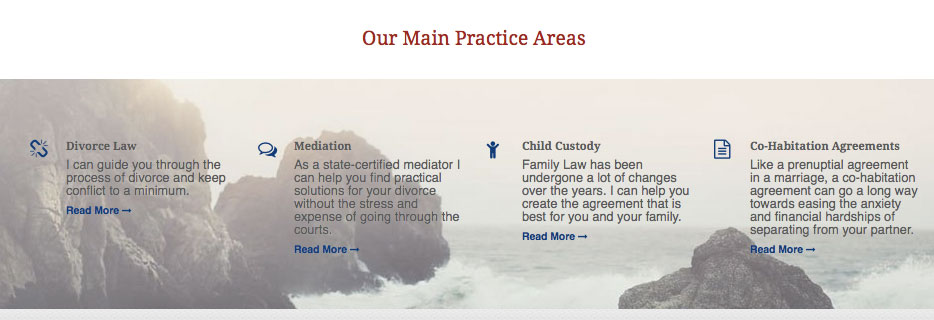 Areas of Practice quick links from the home page