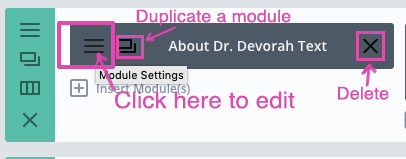 screenshot of divi module tools edit, duplicate and delete