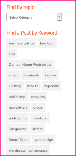category dropdown and tag cloud in sidebar
