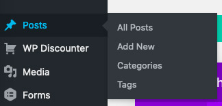 dashboard categories and tags