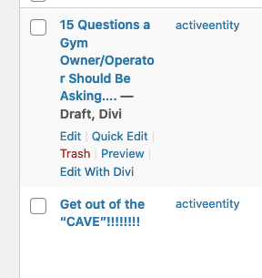hover over a post title to see options