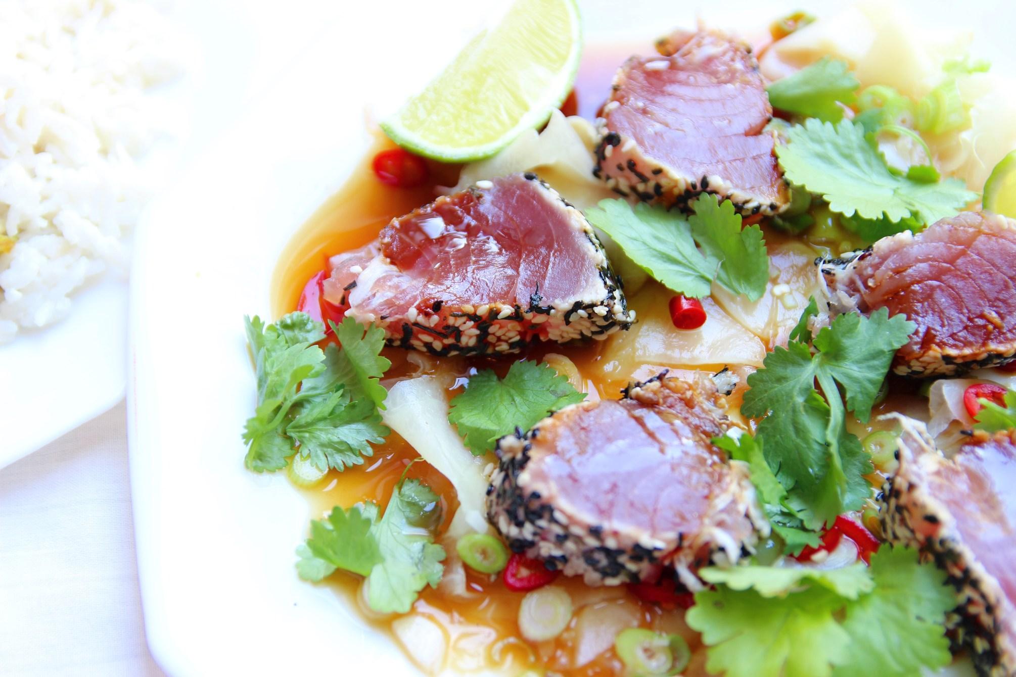 Aziatische tonijn met kokosrijst