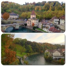 A view of the Aare River on a beautiful autumn afternoon.