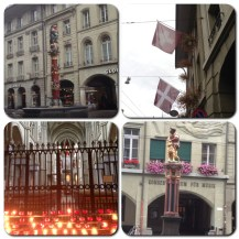 I was fascinated with the 16th century fountains in Bern. They are all over the city! Below left: candles at the St. Paul and Peter Church.