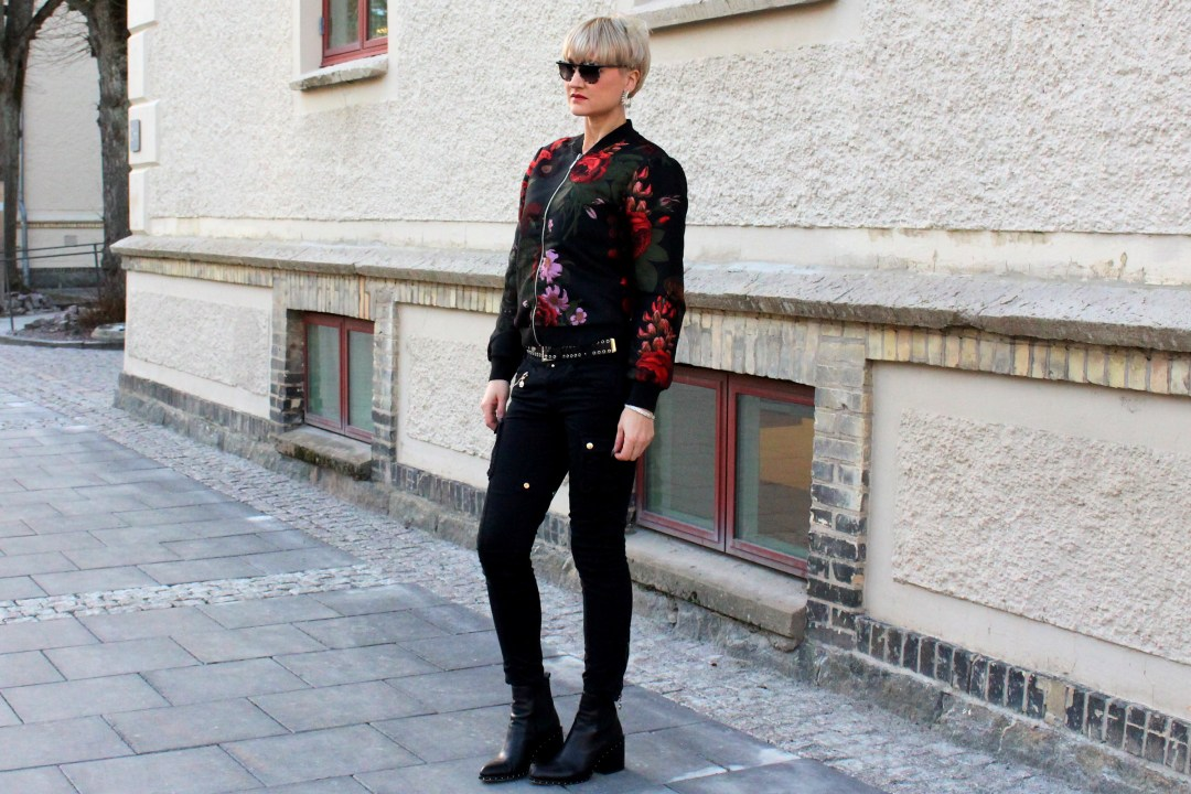 flower bomber jacket outfit