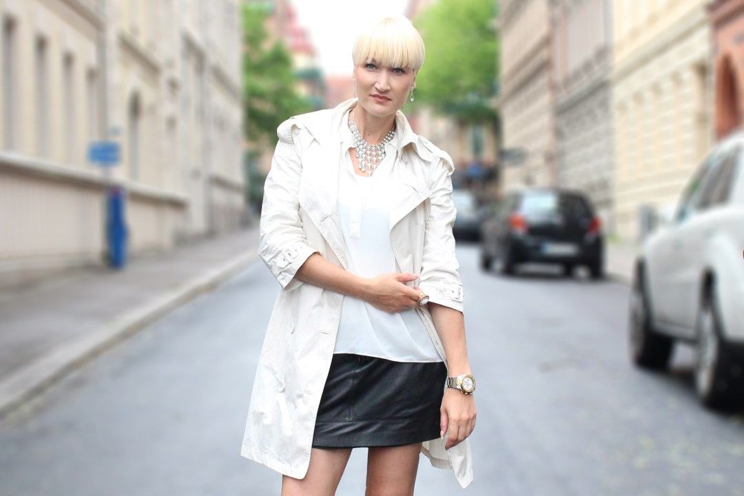 white summer trench