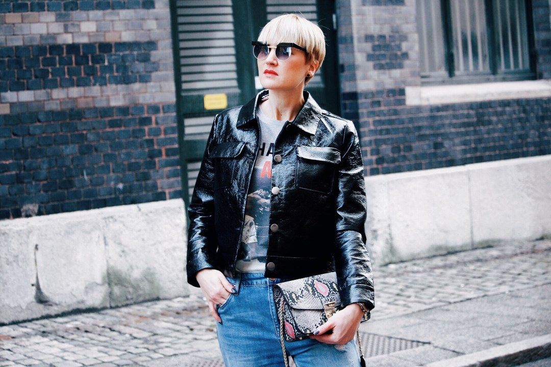 glossy cropped jacket