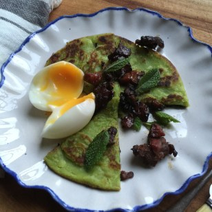 Green Pea pancake with Treacle Lardons and Soft Egg