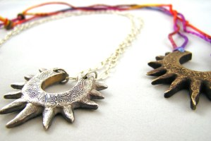 Bronze and fine silver spiky horseshoe necklaces