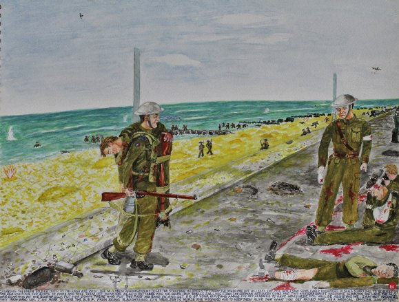 """Carrying the other soldier over to the first aid post, the M.O. made arrangements to get the stretcher bearers to carry the other one out.  As I left the pillbox I saw some early morning risers starting to queue up in the sea waiting for ships to come and take them off Dunkirk beach.  But there were no ships, only shells falling from the German artillery guns and two Messerschmitt machine gunning the lads.  The M.O. was glaring at me scornfully.  """"Put him down there and put this first aid band on and get rid of your rifle and ammo.  It's not allowed to have arms here.  You will be assisting me.  """"I am not wearing any arm band, Sir.  I am here to save the B.E.F. from being slaughtered.  It's your job to nurse the wounded and to keep them alive.  That's what you get paid for as a Medical Officer.""""June 22nd 1940."""