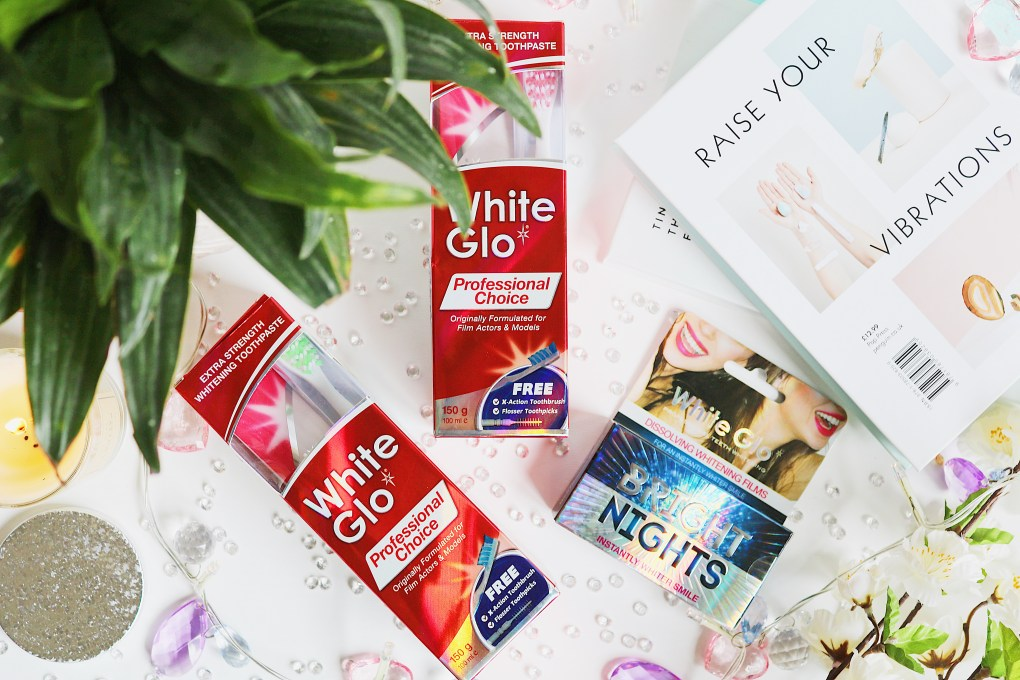 Flat lay photo of White Glo Toothpaste Products