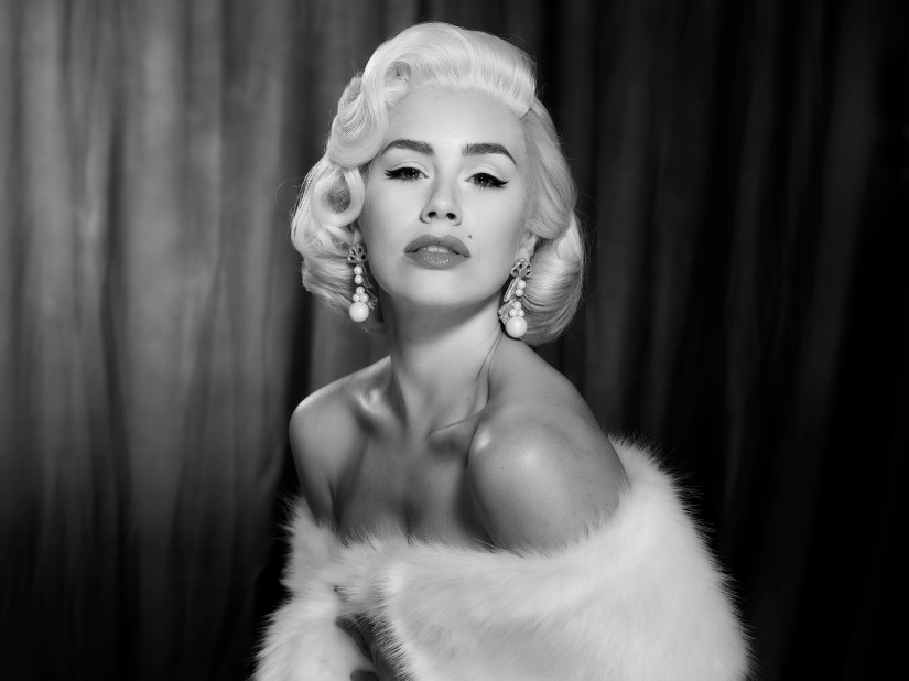 Recreated black and white image of Marilyn Monroe