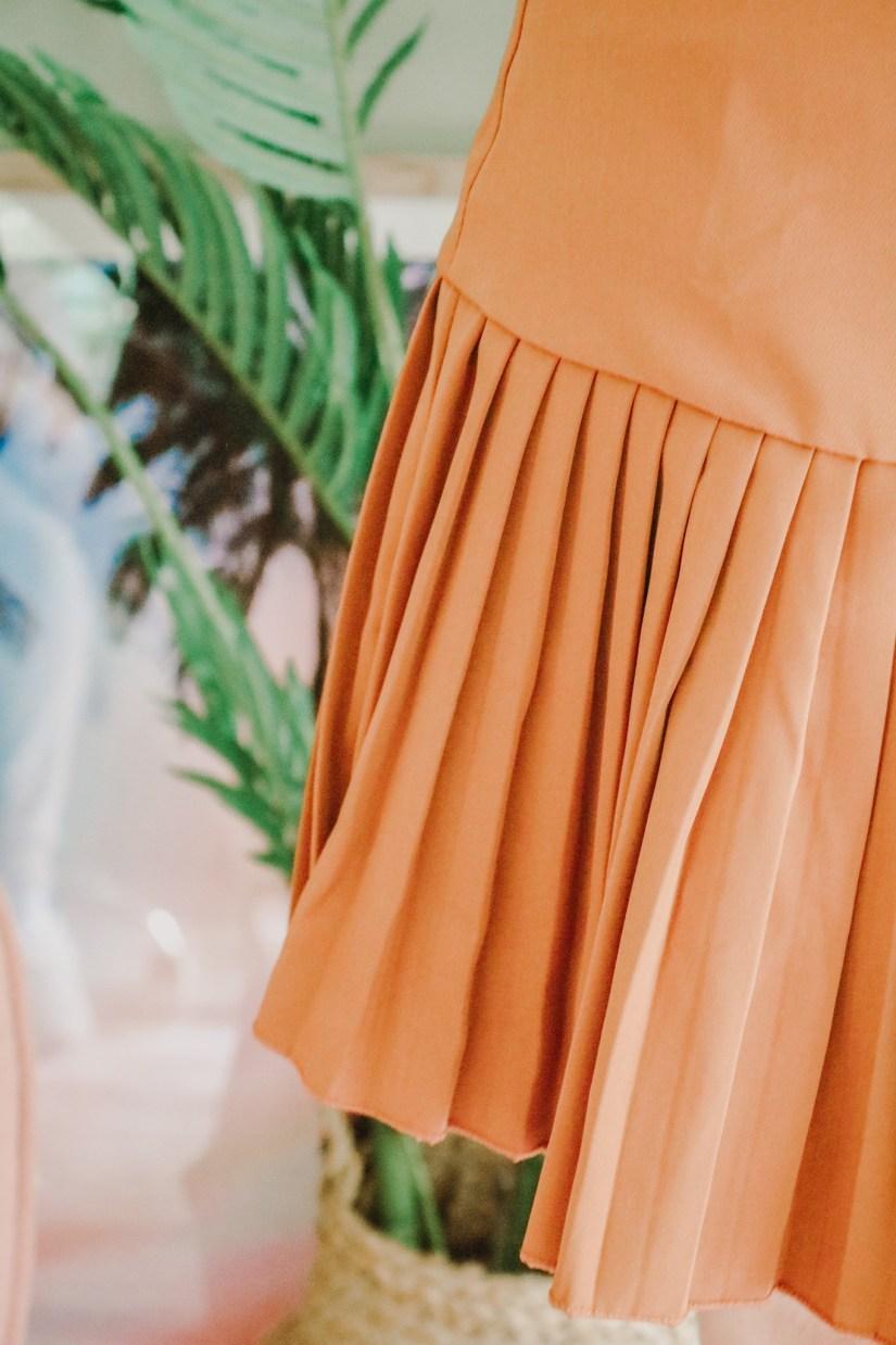 Tan High Waisted Pleated Ruffle Bodycon Mini Skirt