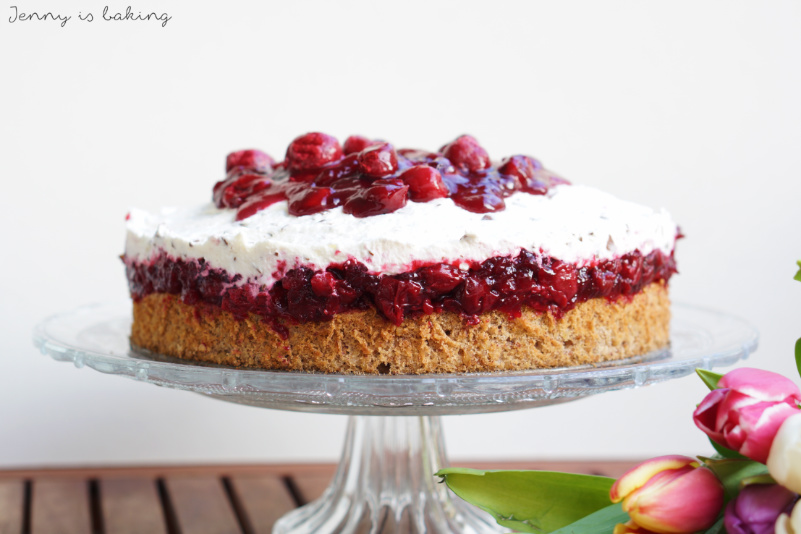 cherry hazelnut cake