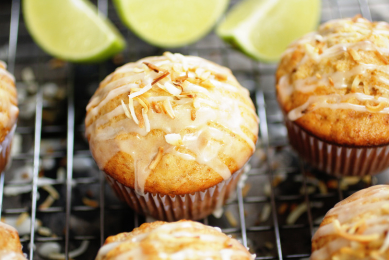 Toasted coconut banana muffins with lime drizzle