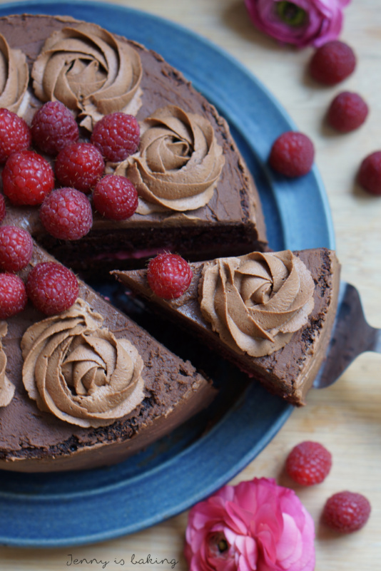 Chocolate Layer Cake with Raspberry Curd and Chocolate Ganache
