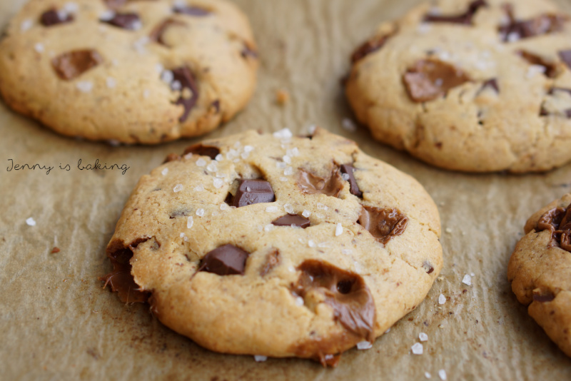 Peanut Butter Chocolate Chunk Cookies with Caramel and Sea Salt
