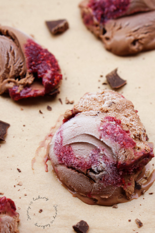 Double chocolate ice cream with raspberry swirl