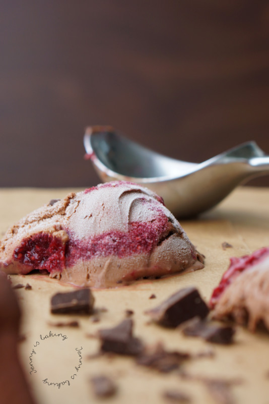 Double chocolate ice cream with raspberry swirl