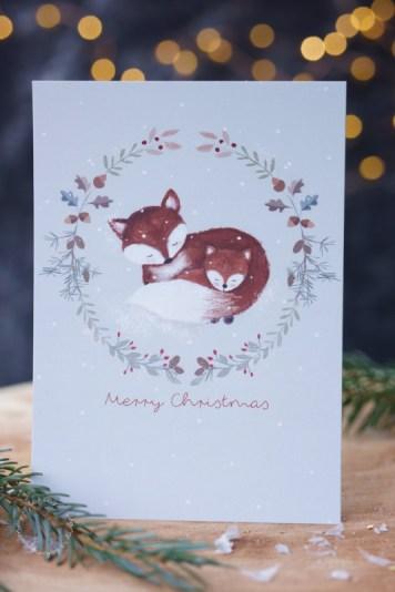 Weihnachtskarte mit Fuchs gestaltet von Ellen Martens