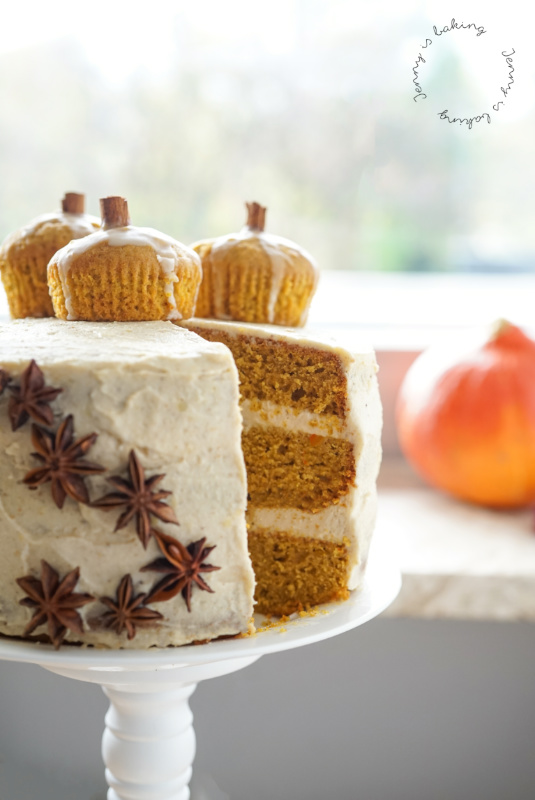 Pumpkin Layer Cake with Brown Butter Buttercream for Thanksgiving