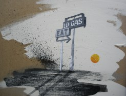 Gas Stop Americana Landscape Painting Collage