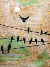 London birds map Jenny Leonard 30 x 40cm