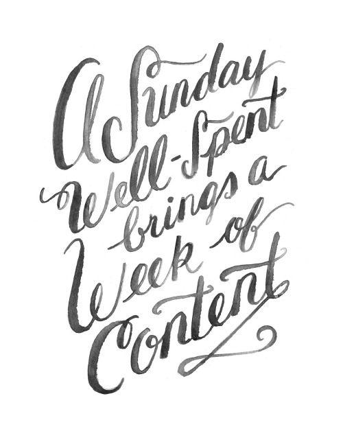 a sunday well spent brings a week of content quote art print