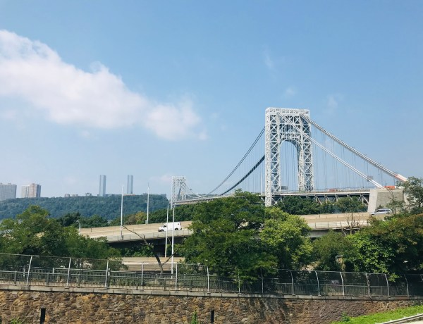 View of George Washington Bridge from Washington Heights, NYC. Photo by Jenny Loeffler. 2020.