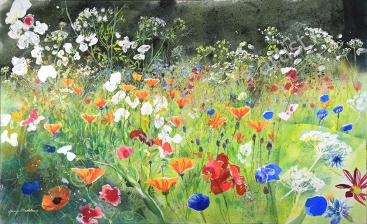 Fabulous Flowers, 68 x 112 cm, watercolour on paper, framed selling price £3,500.