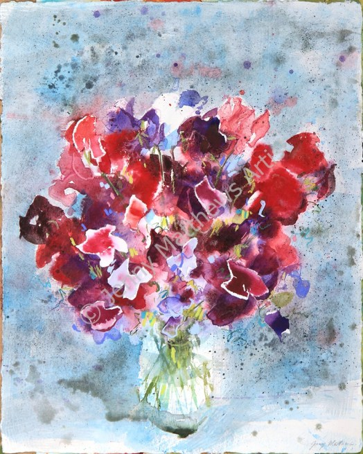 Sweet Pea Bouquet: 40 x 30cm, watercolour on handmade paper, framed price £850
