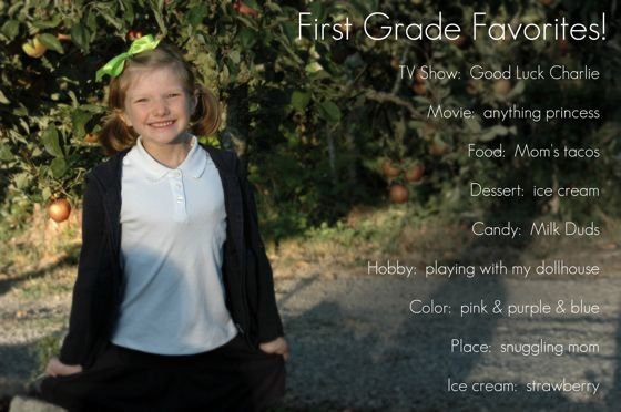 I can't believe she is in first grade.