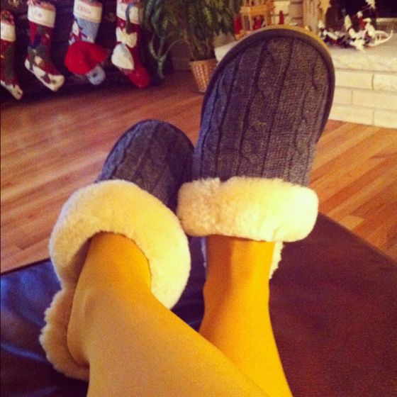 Yellow tights and slippers