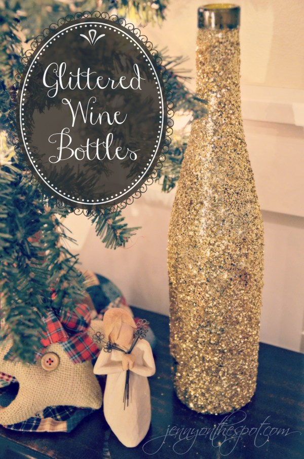 DIY Glittered Wine Bottle Tutorial via @jennyonthespot