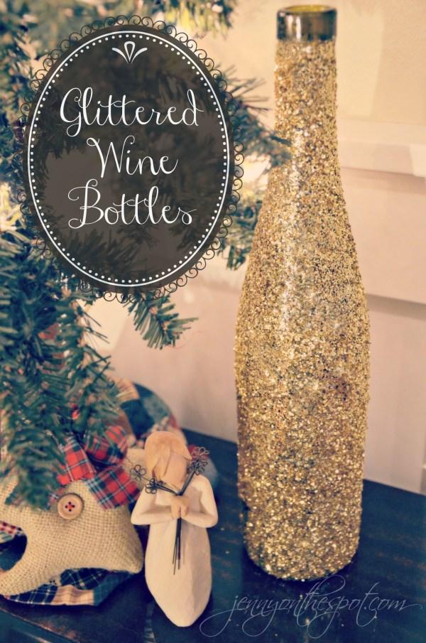 DIY Glittered Wine Bottle Tutorial via @jennyonthespot