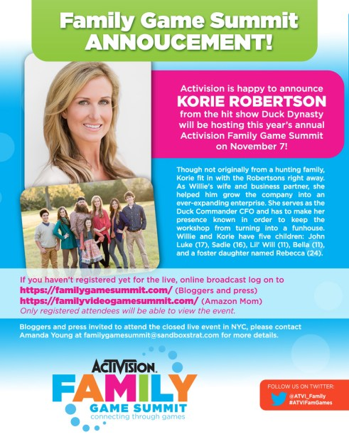 Activision Family Game Summit: Host Announcement - Korie Robertson