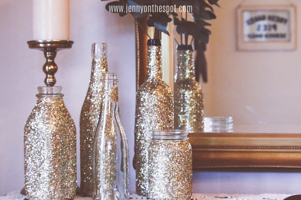 glittered wine and glass bottles